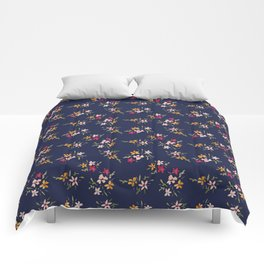 Vintage Inspired Navy Floral Bouquets Comforters