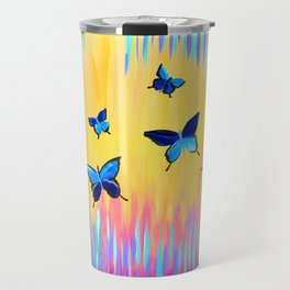 Butterflies and Abstract Colours Travel Mug