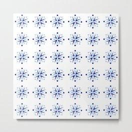 Symmetric pattern 103 - blue flower Metal Print