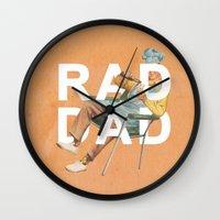 Wall Clocks featuring Rad Dad by Heather Landis