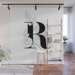 Monogram Letter R with Rose Line Art  Wall Mural