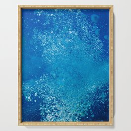Raising underwater bubbles in the blue sea Serving Tray
