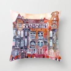 Apartment House in Poznan and orange umbrellas Throw Pillow