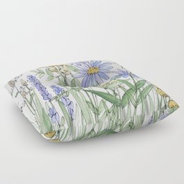 Asters and Wild Flowers Botanical Nature Floral Floor Pillow