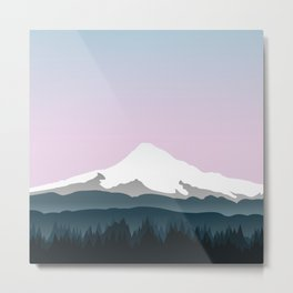Mount Hood Forest - Pink Haze Metal Print