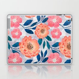 Pink, orange flowers on a light gray background. Laptop & iPad Skin