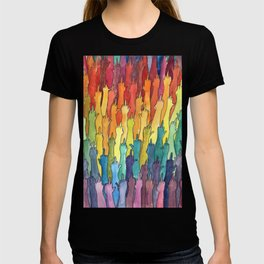 fuck-off in rainbow power T-shirt