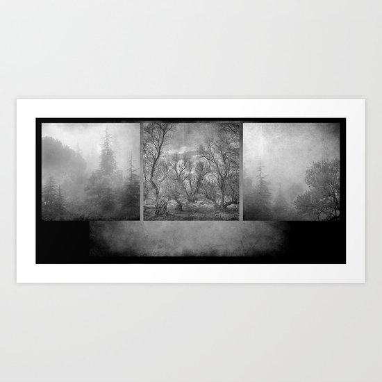 Collage Misty trees Art Print