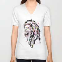 marley V-neck T-shirts featuring B Marley Portrait  by Alina N