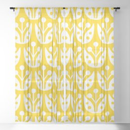 Mid Century Flower Pattern Yellow Sheer Curtain