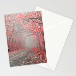 Misty Forest Road - Tickle Me Pink Stationery Cards