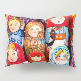 Culture. Group of matrioska, or babushka, symbol of maternity from Russia. Pillow Sham