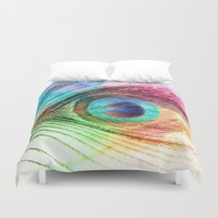 peacock feather Duvet Covers featuring Peacock Feather by Klara Acel