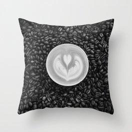 Coffee Beans (Black and White) Throw Pillow