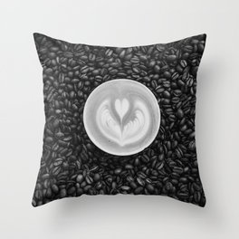 Coffee Beans (Black and White) Throw Pillow