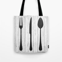 eat Tote Bags featuring Eat by Vintage Fox