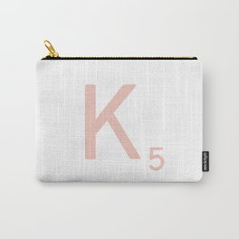 Pink Scrabble Letter K - Scrabble Tile Art and Accessories Carry-All Pouch