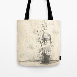 Vintage hand drawn galleon background Tote Bag