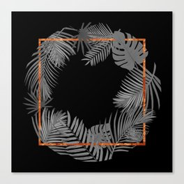 TROPICAL SQUARE COPPER BLACK AND GRAY Canvas Print