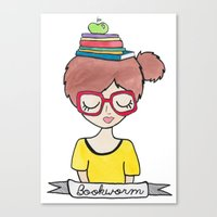 bookworm Canvas Prints featuring Bookworm by Shawna Miller