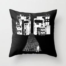 Dead Sound City (White on Black) Throw Pillow