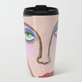Abstract Portrait Green Eyed High Society Lady Outsider Artist Travel Mug