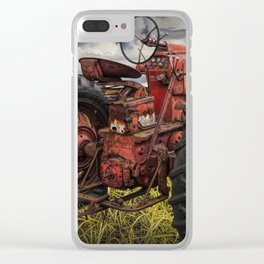 Abandoned Old Farmall Tractor in a Grassy Field on a Farm Clear iPhone Case