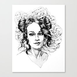Portrait and peonies Canvas Print