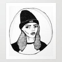 bitch Art Prints featuring bitch. by Juliet Stedman