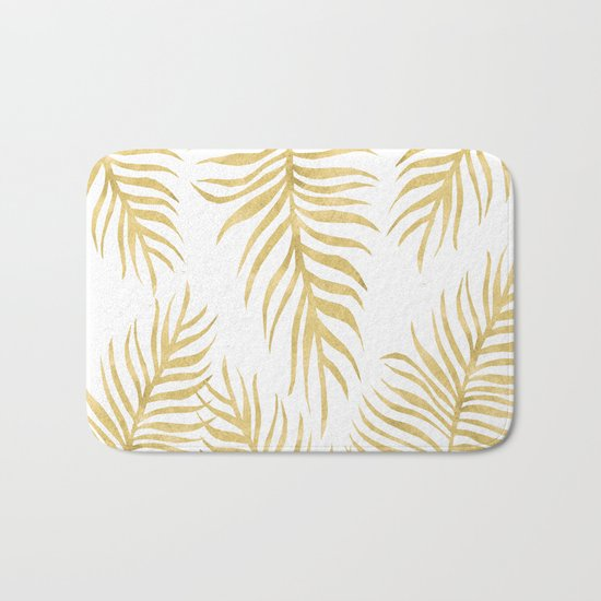 Fern Pattern Gold Bath Mat