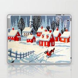Christmas Snow Church Horse & Carriage Laptop & iPad Skin