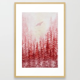 """""""Red Forest"""" watercolor landscape painting Framed Art Print"""