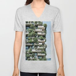 Bosco Verticale, Modern Architecture Print, Urban Jungle, Vertical Forest, Residential Towers Milan, Italy Ecology Architect Unisex V-Neck