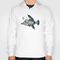 steam punk Hoodies featuring steam punk fish by Elena Trupak