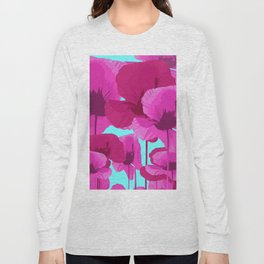 Sweet Pink Poppies On A Turquoise Background Long Sleeve T-shirt