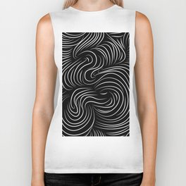 White Stripes Biker Tank