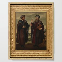 SS. Cosmas and Damian in a landscape. Oil painting, 17th c. v Serving Tray