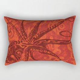 Red Tribal Octopus Rectangular Pillow