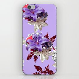 LILY PURPLE LILIES AND WHITE HYDRANGEAS iPhone Skin