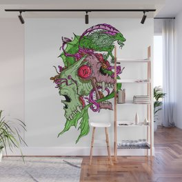 Capricorn Skull Zodiac Sign For December and January Birth Day Gift Wall Mural