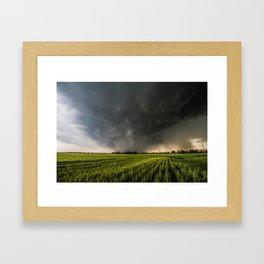 Beautiful Storm - Tornado Emerges From Rain Over Wheat Field in Kansas Framed Art Print