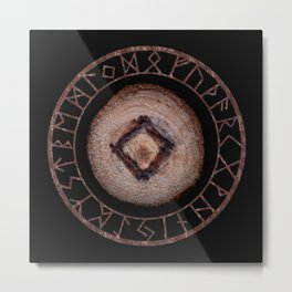 Ingwaz Elder Futhark Rune Male fertility, gestation, internal growth. Common virtues, common sense Metal Print