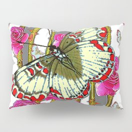 ORIENTAL STYLE BUTTERFLY & PINK ROSES GREY PATTERN DESIGN Pillow Sham
