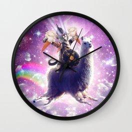 Lazer Warrior Space Cat Riding Llama Eating Ice Cream Wall Clock