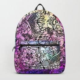 Floral mandala handdrawn pink nebula watercolor Backpack