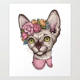 Hand drawn portrait of cute Sphinx cat with a wreath on head Art Print