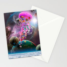 Pink Electric Jellyfish in Outerspace Stationery Cards