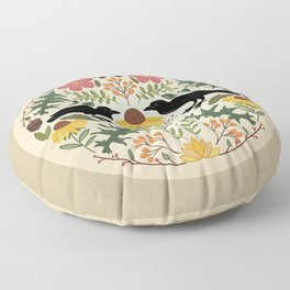 Crows, Wild Roses, Thistles And Sunflowers Floor Pillow