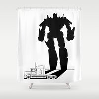 optimus prime Shower Curtains featuring Optimus Prime by offbeatzombie