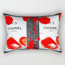 No 5 Red Splash Rectangular Pillow